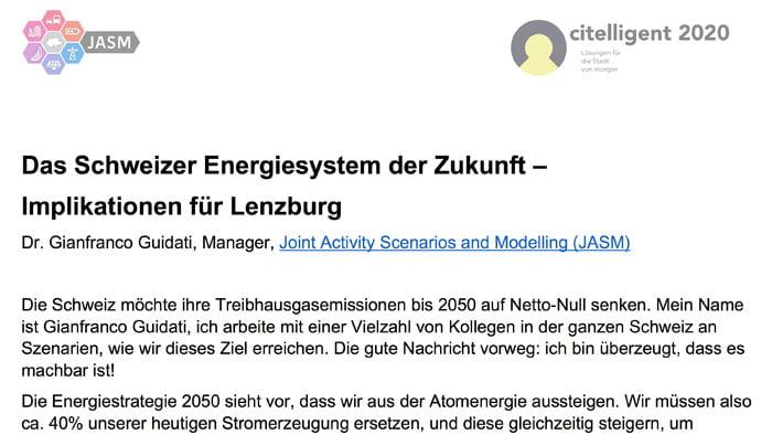 JASM - Das Schweizer Energiesystem der Zukunft - Implikationen für Lenzburg.